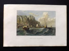 Stanfield 1847 Hand Col Print. East Cliff, Hastings. Sussex. Maritime